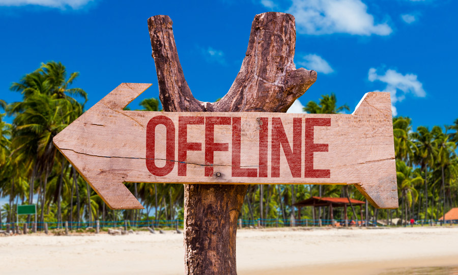 Offline arrow with beach background