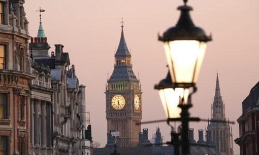 Big Ben, seen from Trafalgar Square, at Dawn