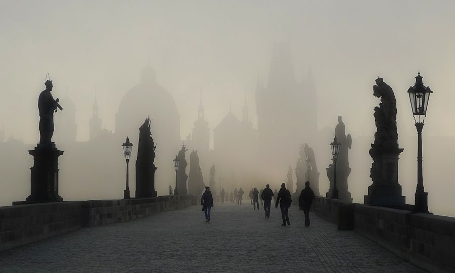 Charles Bridge, Prague, in the mist