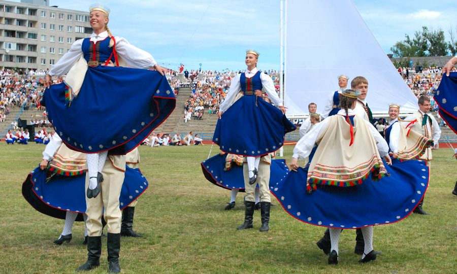 Traditional dancing in Tallinn, Estonia