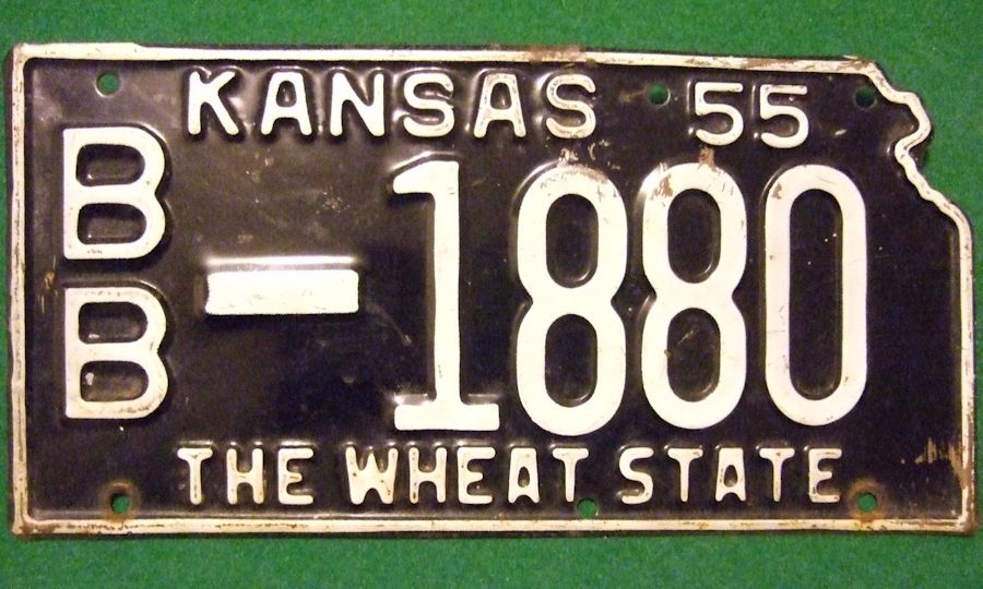 1955 Kansas plate